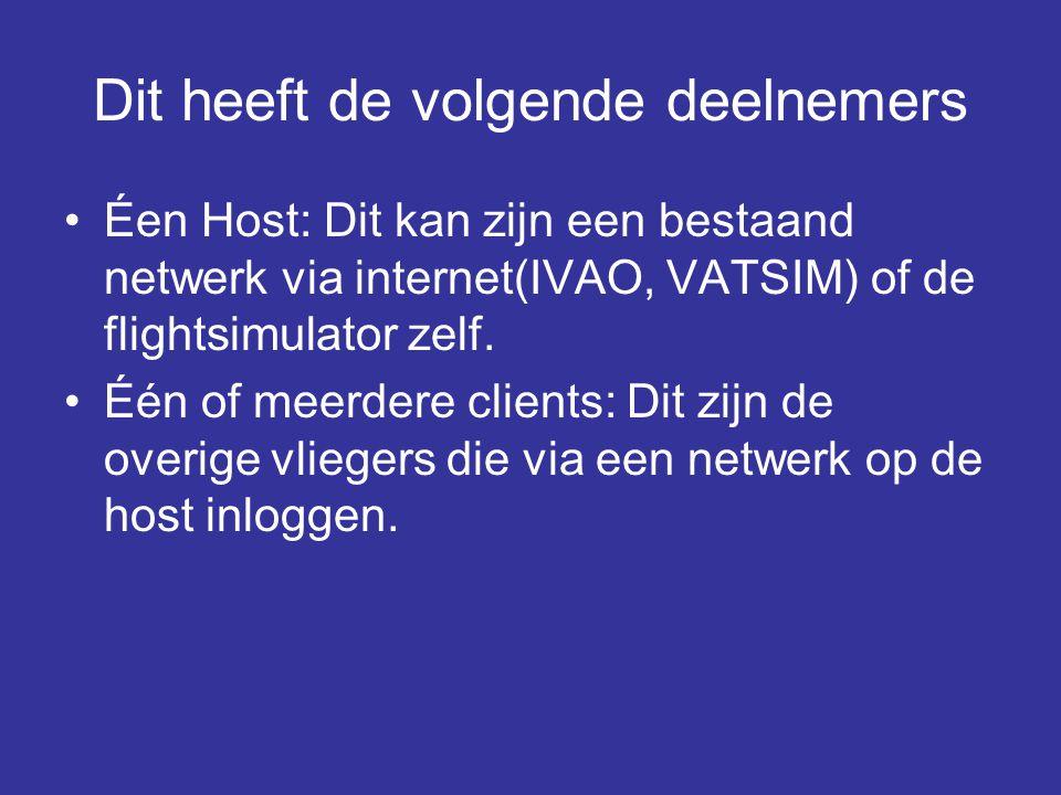 Dit heeft de volgende deelnemers •Éen Host: Dit kan zijn een bestaand netwerk via internet(IVAO, VATSIM) of de flightsimulator zelf. •Één of meerdere