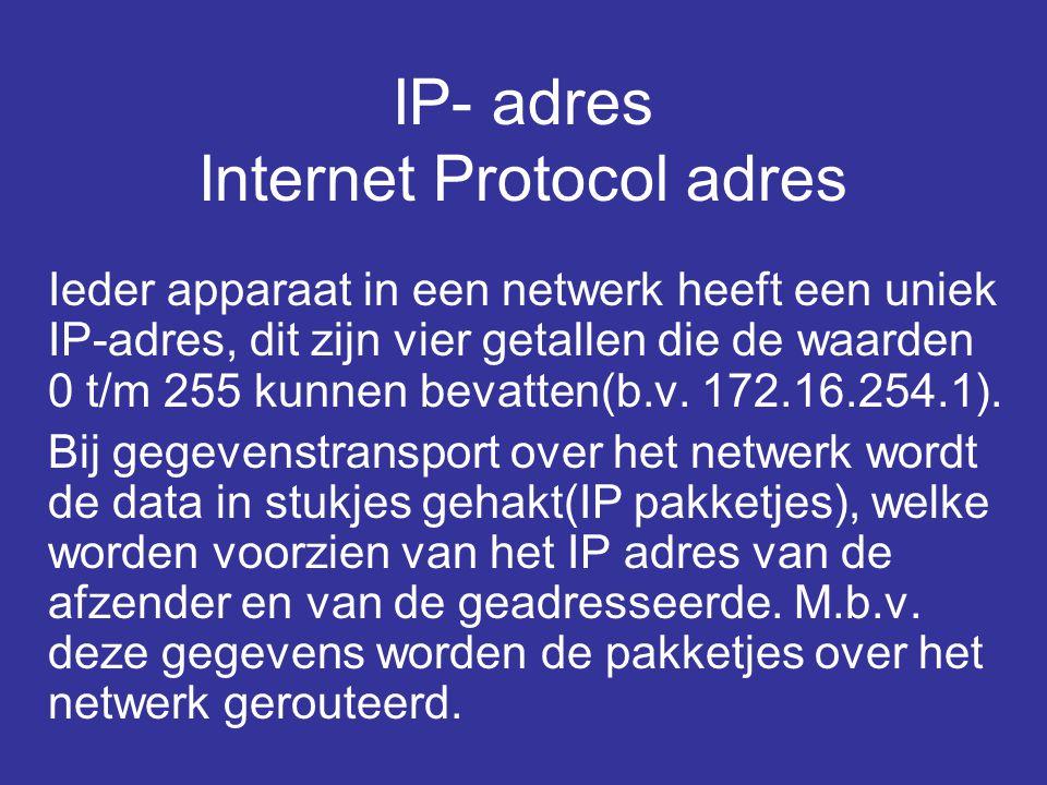 IP- adres Internet Protocol adres Ieder apparaat in een netwerk heeft een uniek IP-adres, dit zijn vier getallen die de waarden 0 t/m 255 kunnen bevatten(b.v.