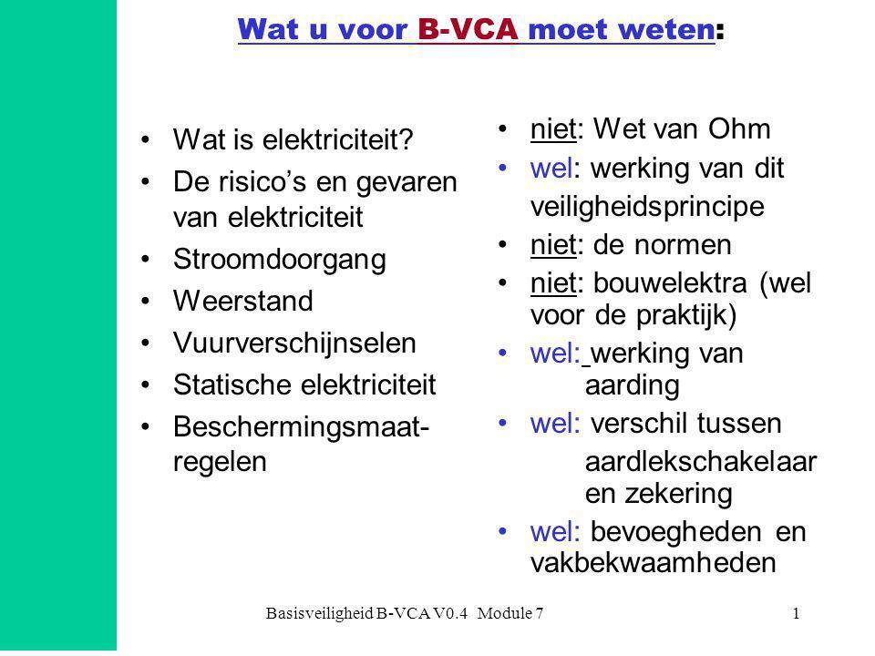 Basisveiligheid B-VCA V0.4 Module 71 Wat u voor B-VCA moet weten: •Wat is elektriciteit? •De risico's en gevaren van elektriciteit •Stroomdoorgang •We