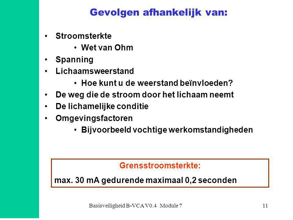 Basisveiligheid B-VCA V0.4 Module 711 Gevolgen afhankelijk van: •Stroomsterkte •Wet van Ohm •Spanning •Lichaamsweerstand •Hoe kunt u de weerstand beïnvloeden.
