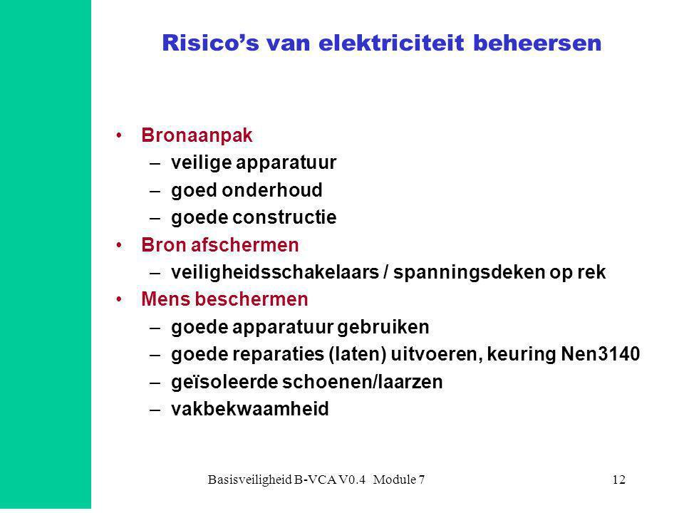 Basisveiligheid B-VCA V0.4 Module 712 Risico's van elektriciteit beheersen •Bronaanpak –veilige apparatuur –goed onderhoud –goede constructie •Bron af