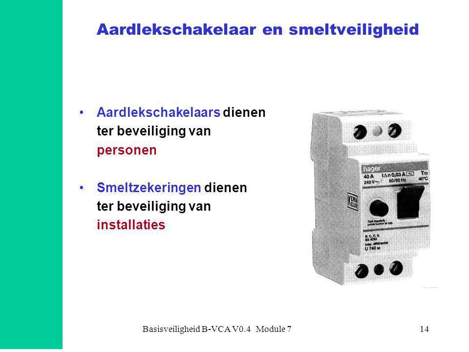 Basisveiligheid B-VCA V0.4 Module 714 Aardlekschakelaar en smeltveiligheid •Aardlekschakelaars dienen ter beveiliging van personen •Smeltzekeringen dienen ter beveiliging van installaties