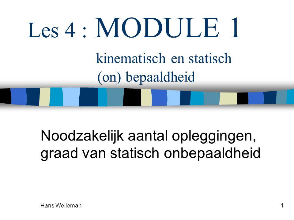Hans Welleman1 Les 4 : MODULE 1 kinematisch en statisch (on) bepaaldheid Noodzakelijk aantal opleggingen, graad van statisch onbepaaldheid