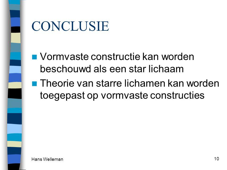Hans Welleman 10 CONCLUSIE  Vormvaste constructie kan worden beschouwd als een star lichaam  Theorie van starre lichamen kan worden toegepast op vormvaste constructies