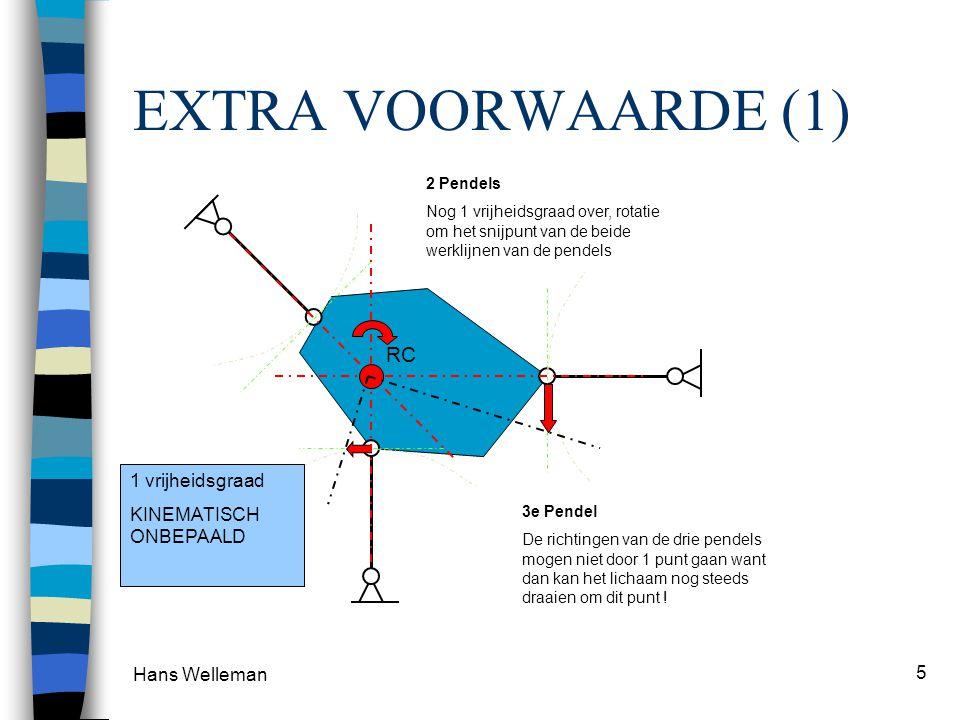 Hans Welleman 5 EXTRA VOORWAARDE (1) 2 Pendels Nog 1 vrijheidsgraad over, rotatie om het snijpunt van de beide werklijnen van de pendels RC 3e Pendel De richtingen van de drie pendels mogen niet door 1 punt gaan want dan kan het lichaam nog steeds draaien om dit punt .
