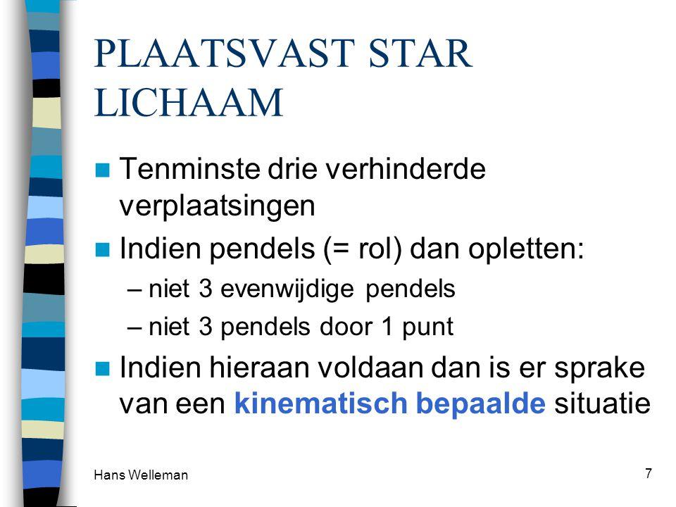 Hans Welleman 7 PLAATSVAST STAR LICHAAM  Tenminste drie verhinderde verplaatsingen  Indien pendels (= rol) dan opletten: –niet 3 evenwijdige pendels –niet 3 pendels door 1 punt  Indien hieraan voldaan dan is er sprake van een kinematisch bepaalde situatie