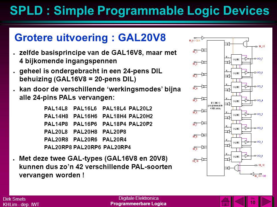 Dirk Smets KHLim - dep. IWT Digitale Elektronica Programmeerbare Logica SPLD : Simple Programmable Logic Devices DIA 9 DIA 9 GAL16V8 : samengevat n ze
