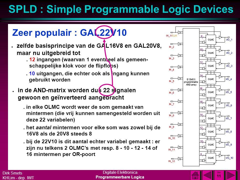 Dirk Smets KHLim - dep. IWT Digitale Elektronica Programmeerbare Logica SPLD : Simple Programmable Logic Devices DIA 10 DIA 10 Grotere uitvoering : GA