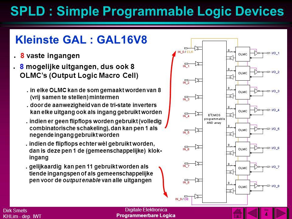 Dirk Smets KHLim - dep. IWT Digitale Elektronica Programmeerbare Logica SPLD : Simple Programmable Logic Devices DIA 3 DIA 3 GAL : principiële opbouw