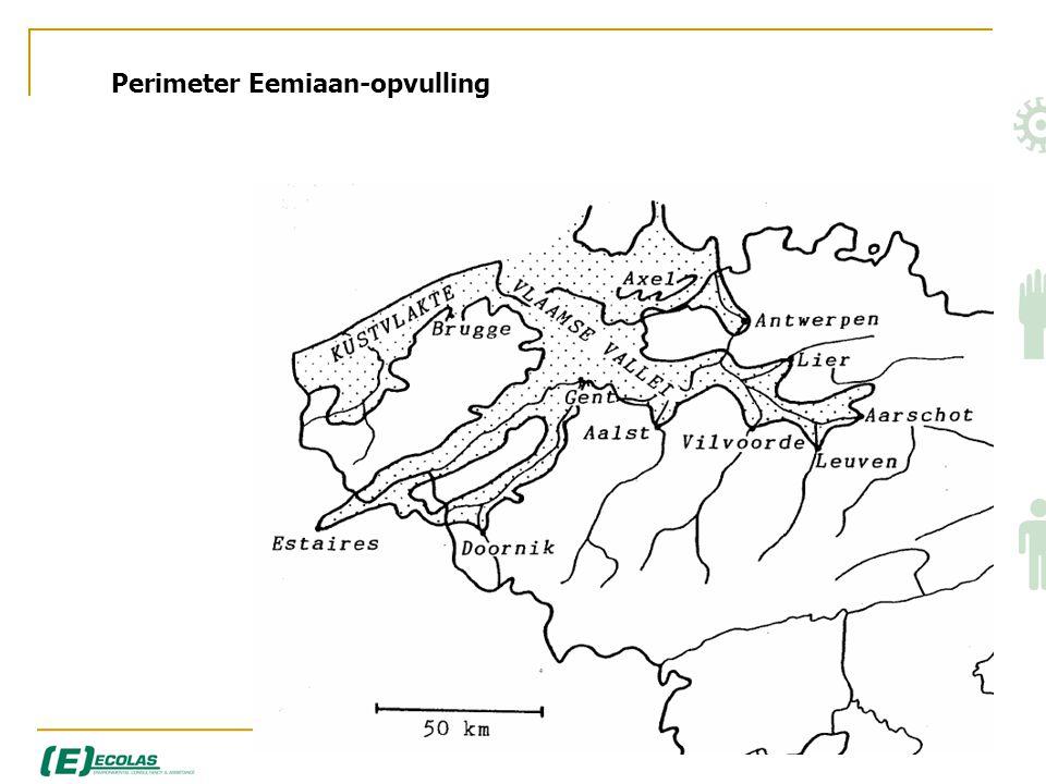Valleien Leie, Schelde • Pleistocene valleigedeelten steeds bedekt door holocene deklagen • Afzettingen gebeurden tussen voorlaatste (Saale) en laatste ijstijd Weichsel • Opvulling met zand door mariene en estuariumwerking werking (130.000-70.000 BP) – Eem : tussenijstijd • Laatste ijstijd – Würm/Weichsel : afzetting met leempakket (70.000 tot 10.000 BP) Verwilderd rivierenpatroon...