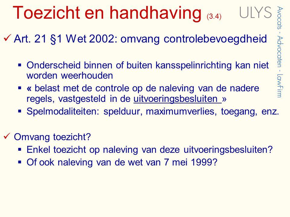 Toezicht en handhaving (3.4)  Art.