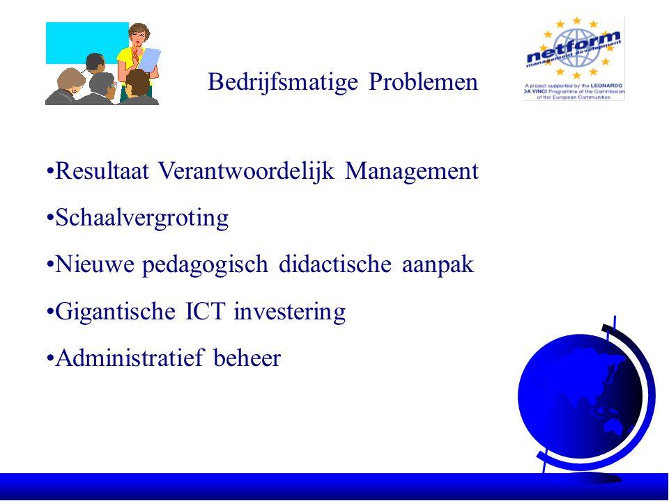 Bedrijfsmatige Problemen •Resultaat Verantwoordelijk Management •Schaalvergroting •Nieuwe pedagogisch didactische aanpak •Gigantische ICT investering •Administratief beheer