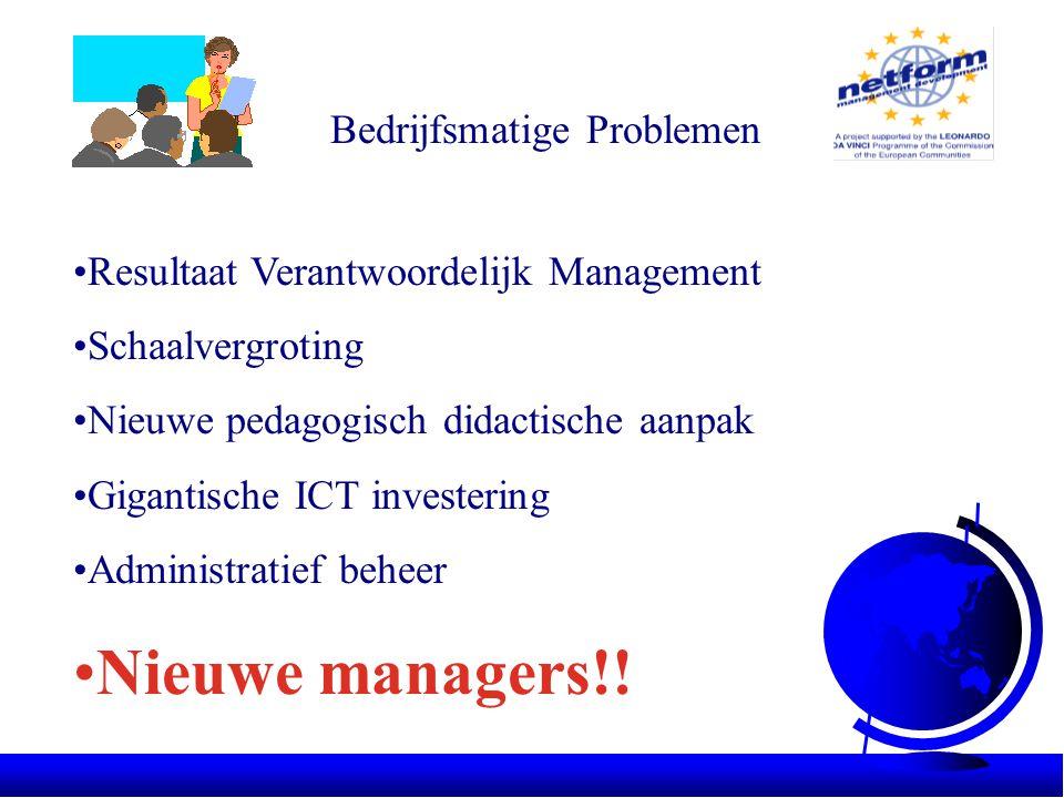 Bedrijfsmatige Problemen •Resultaat Verantwoordelijk Management •Schaalvergroting •Nieuwe pedagogisch didactische aanpak •Gigantische ICT investering •Administratief beheer •Nieuwe managers!!