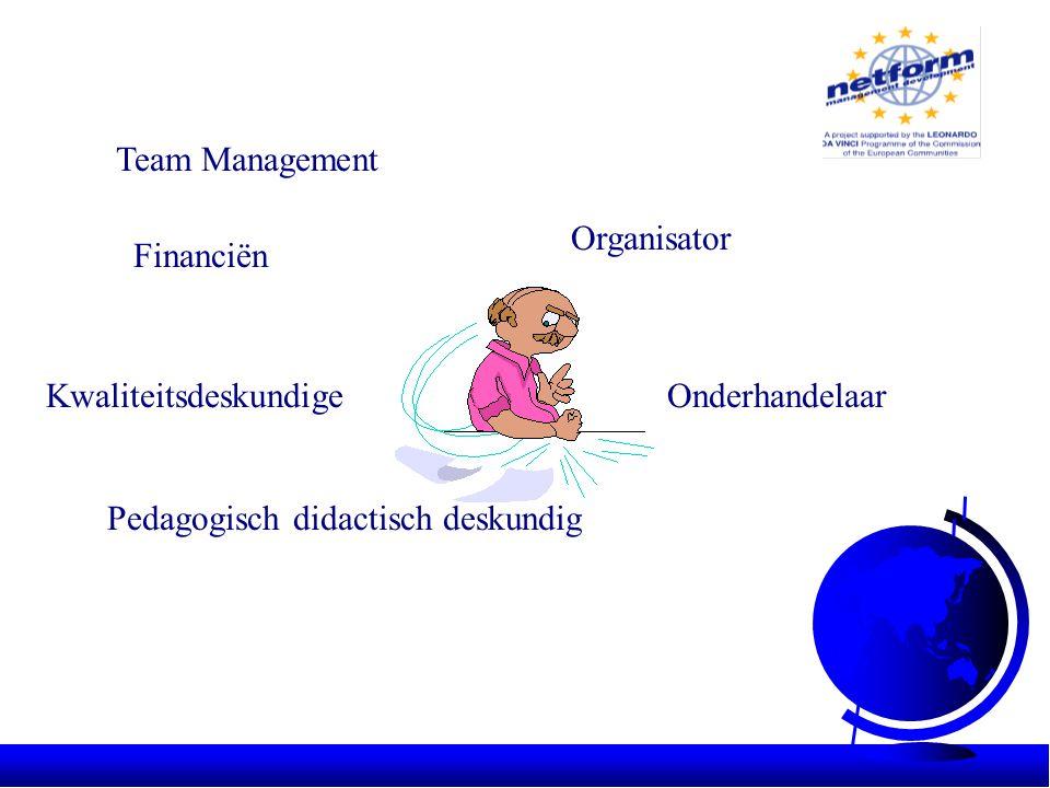 Team Management Financiën Organisator OnderhandelaarKwaliteitsdeskundige Pedagogisch didactisch deskundig