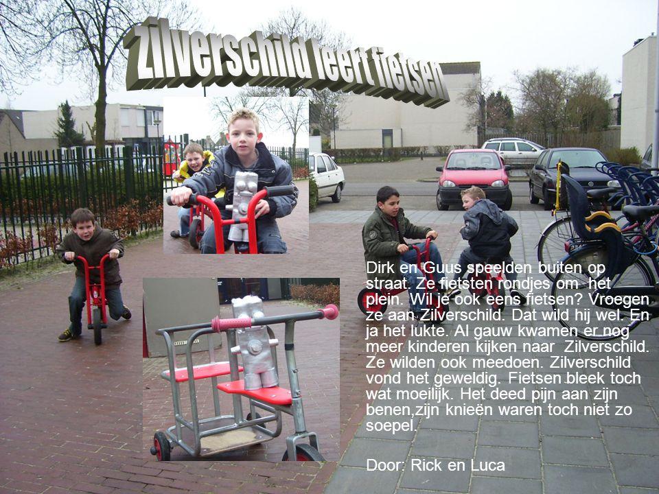 Dirk en Guus speelden buiten op straat. Ze fietsten rondjes om het plein. Wil je ook eens fietsen? Vroegen ze aan Zilverschild. Dat wild hij wel. En j