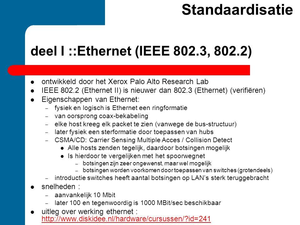 deel I ::Ethernet (IEEE 802.3, 802.2)  ontwikkeld door het Xerox Palo Alto Research Lab  IEEE 802.2 (Ethernet II) is nieuwer dan 802.3 (Ethernet) (v