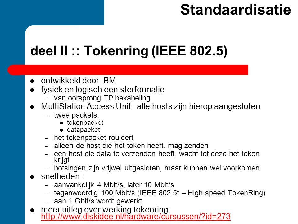 deel II :: Tokenring (IEEE 802.5)  ontwikkeld door IBM  fysiek en logisch een sterformatie – van oorsprong TP bekabeling  MultiStation Access Unit