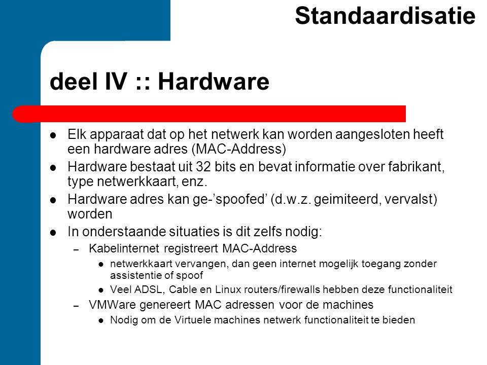 deel IV :: Hardware  Elk apparaat dat op het netwerk kan worden aangesloten heeft een hardware adres (MAC-Address)  Hardware bestaat uit 32 bits en