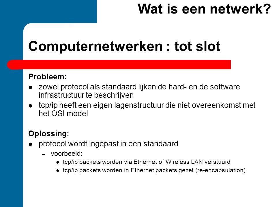 Computernetwerken : tot slot Probleem:  zowel protocol als standaard lijken de hard- en de software infrastructuur te beschrijven  tcp/ip heeft een