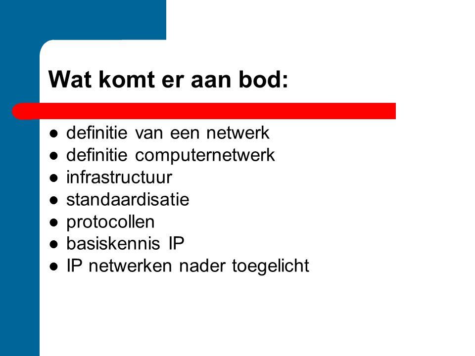 Wat komt er aan bod:  definitie van een netwerk  definitie computernetwerk  infrastructuur  standaardisatie  protocollen  basiskennis IP  IP ne