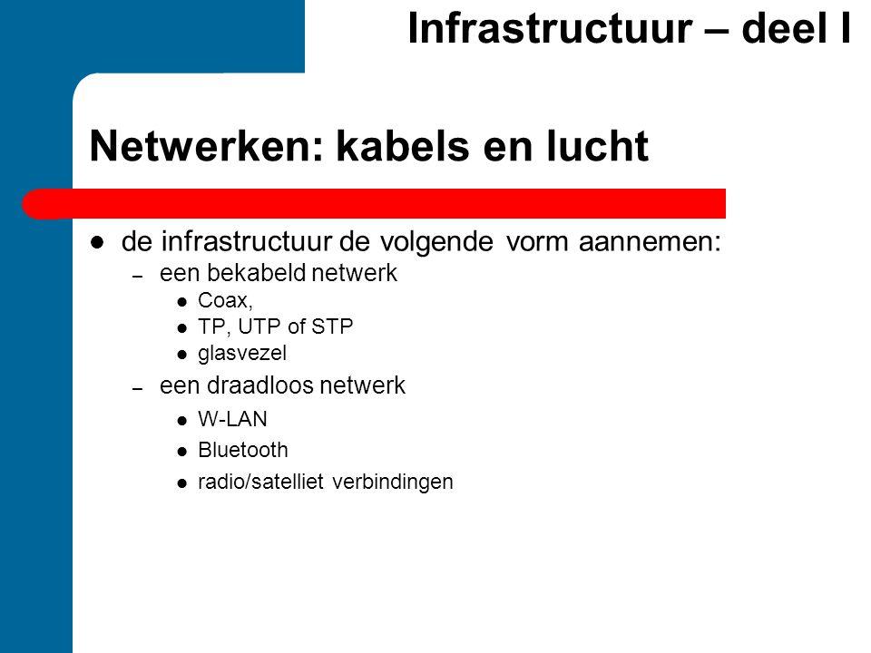 Netwerken: kabels en lucht  de infrastructuur de volgende vorm aannemen: – een bekabeld netwerk  Coax,  TP, UTP of STP  glasvezel – een draadloos