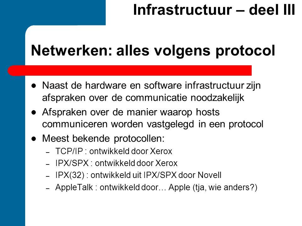 Netwerken: alles volgens protocol  Naast de hardware en software infrastructuur zijn afspraken over de communicatie noodzakelijk  Afspraken over de