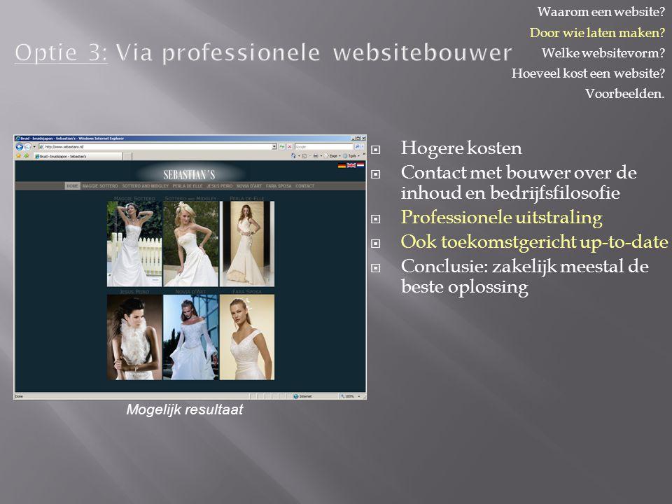 Optie 3: Via professionele websitebouwer   Hogere kosten   Contact met bouwer over de inhoud en bedrijfsfilosofie   Professionele uitstraling   Ook toekomstgericht up-to-date   Conclusie: zakelijk meestal de beste oplossing Waarom een website.