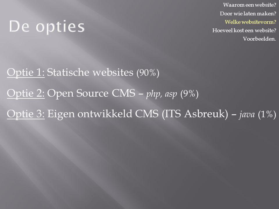 De opties Optie 1: Statische websites (90%) Optie 2: Open Source CMS – php, asp (9%) Optie 3: Eigen ontwikkeld CMS (ITS Asbreuk) – java (1%) Waarom een website.