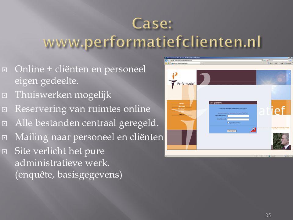  Online + cliënten en personeel eigen gedeelte.