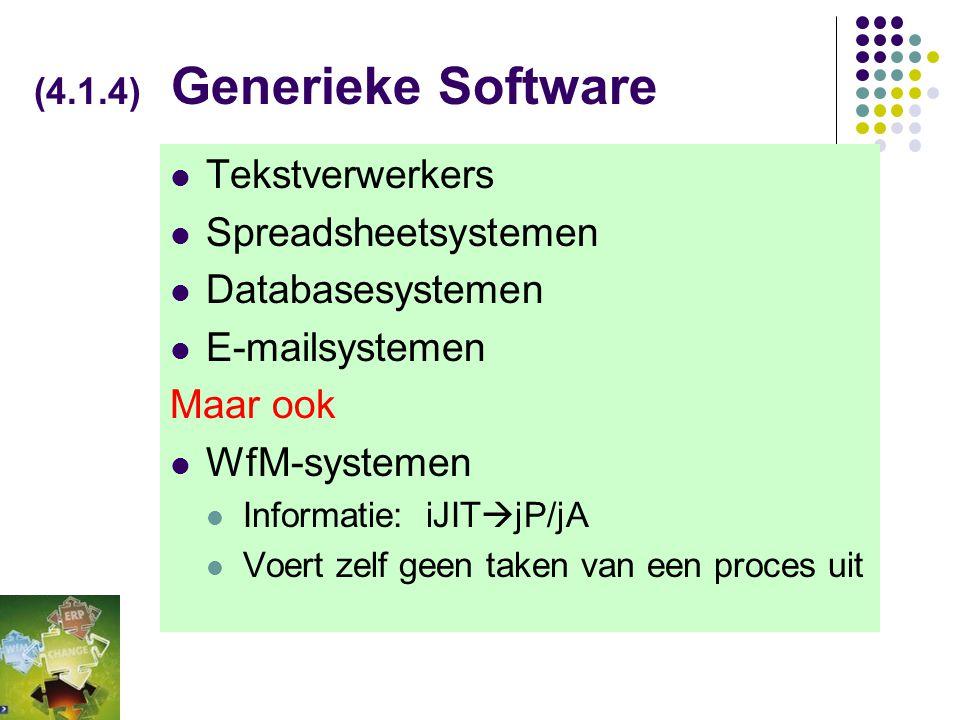 (Fig 4-3) Generieke Software: WFMS, DBMS en UIMS in bredere context - Infrastructureel perspectief - WFMS UIMS DBMS