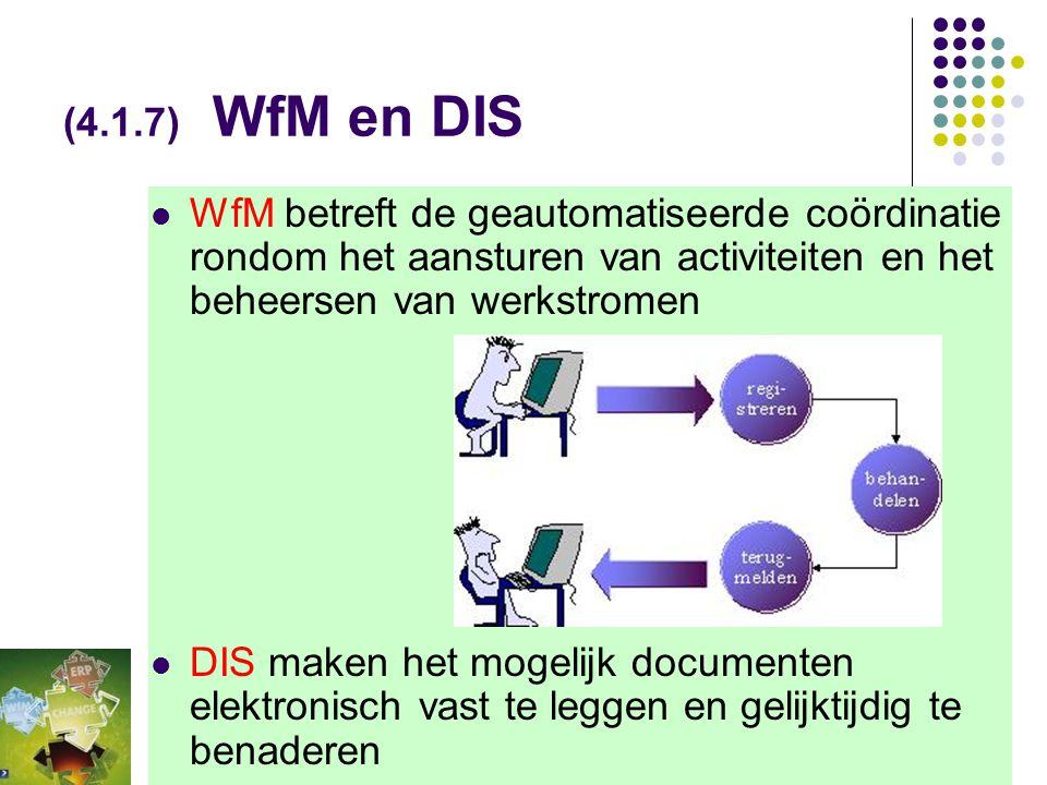 (4.1.7) BPR en WfM  Bij BPR wordt de business revolutionair veranderd, waarbij het busines proces zelf ter discussie wordt gesteld.  WfM is minder a