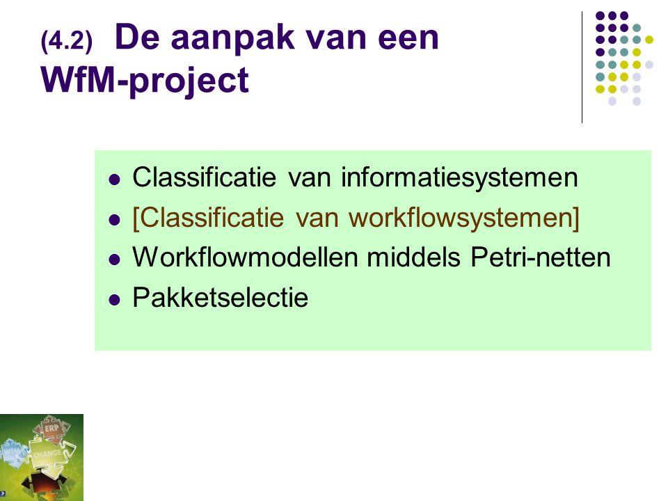 (Tabel 4-3) Keuzefactoren bij Procesondersteuning Kiezen/delen van hulpmiddelen hangt af van wensen  WfM - Groupware  hoge mate structuur & hoge uit