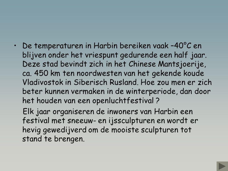 •De temperaturen in Harbin bereiken vaak –40°C en blijven onder het vriespunt gedurende een half jaar.