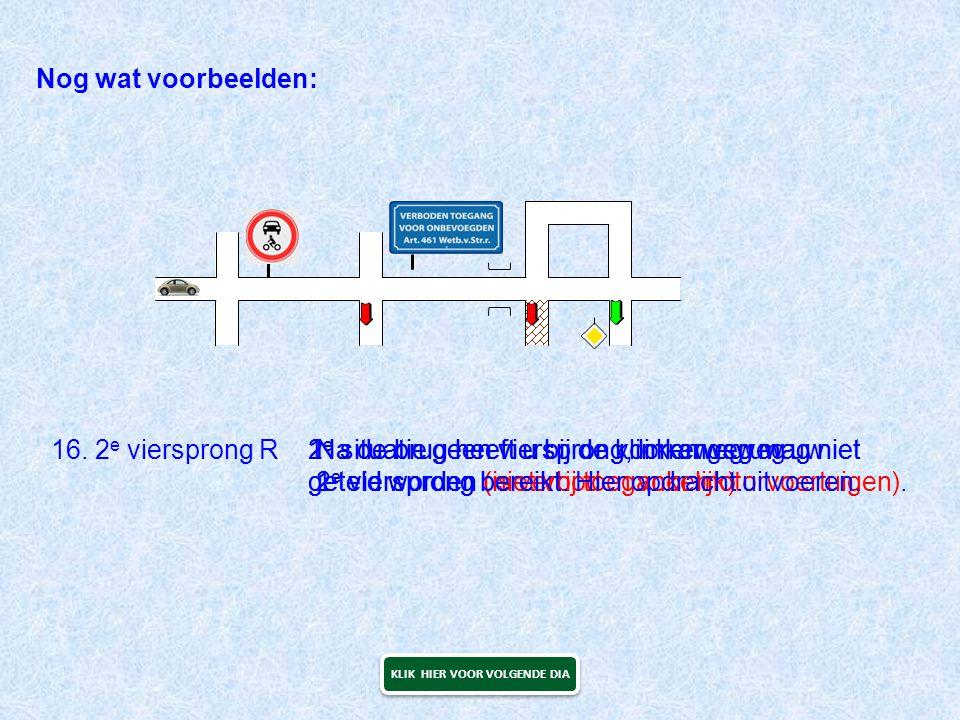 Nog wat voorbeelden: 16. 2 e viersprong R1 e situatie geen viersprong, linkerweg mag niet geteld worden (is verboden voor motorvoertuigen). 2 e situat