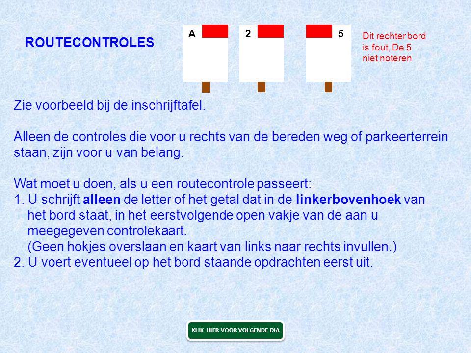ROUTECONTROLES Zie voorbeeld bij de inschrijftafel. Alleen de controles die voor u rechts van de bereden weg of parkeerterrein staan, zijn voor u van