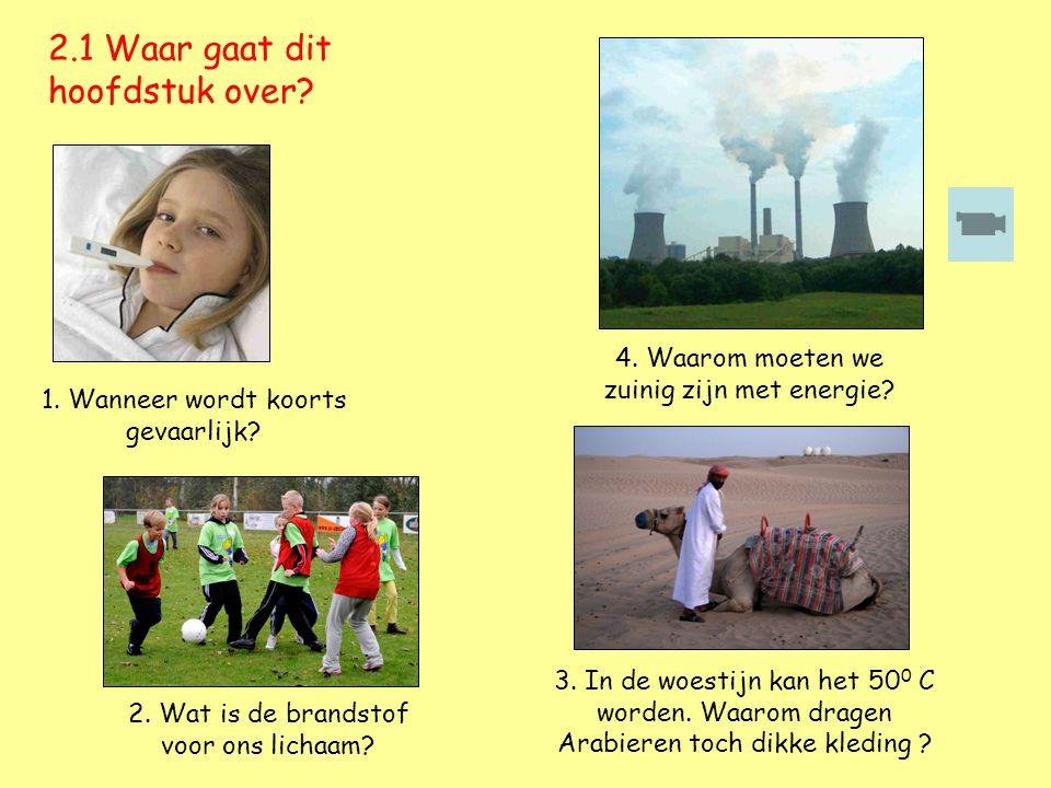 4. Waarom moeten we zuinig zijn met energie? 2.1 Waar gaat dit hoofdstuk over? 2. Wat is de brandstof voor ons lichaam? 1. Wanneer wordt koorts gevaar