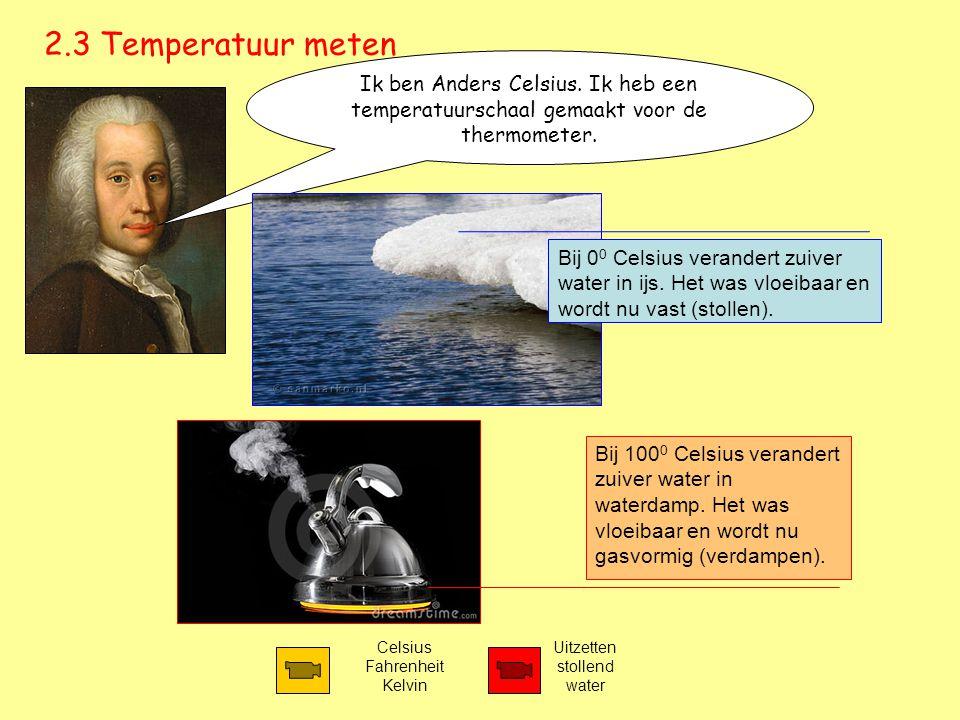 2.3 Temperatuur meten Celsius Fahrenheit Kelvin Ik ben Anders Celsius. Ik heb een temperatuurschaal gemaakt voor de thermometer. Uitzetten stollend wa