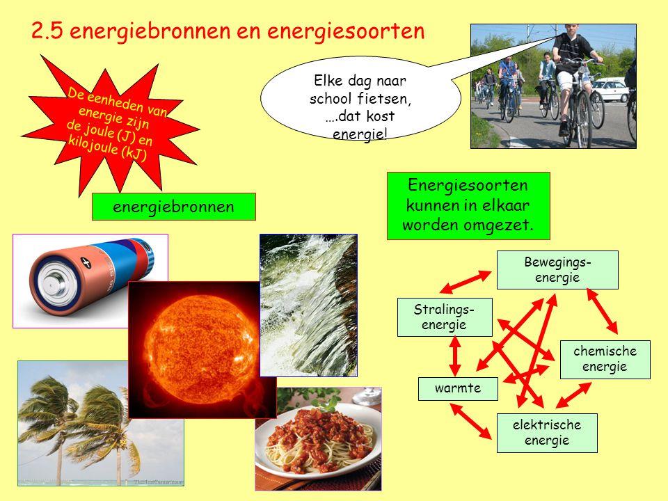 2.5 energiebronnen en energiesoorten Elke dag naar school fietsen, ….dat kost energie! De eenheden van energie zijn de joule (J) en kilojoule (kJ) ene