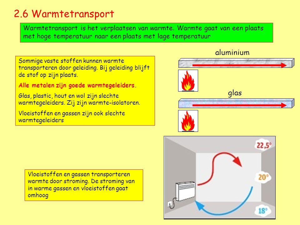 2.6 Warmtetransport Warmtetransport is het verplaatsen van warmte. Warmte gaat van een plaats met hoge temperatuur naar een plaats met lage temperatuu