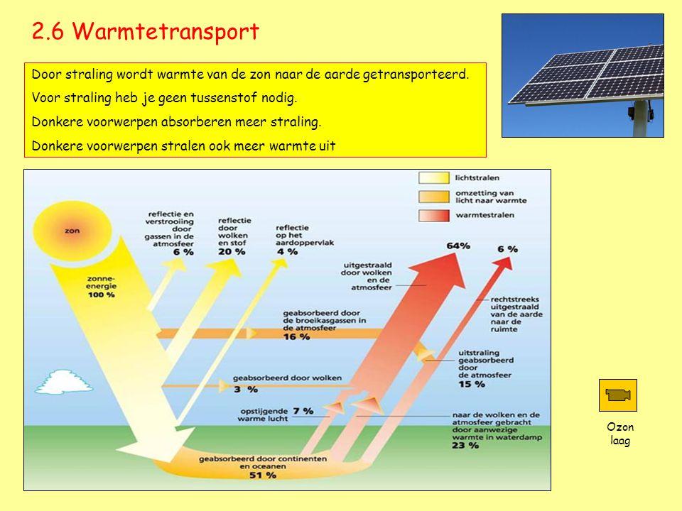2.6 Warmtetransport Door straling wordt warmte van de zon naar de aarde getransporteerd. Voor straling heb je geen tussenstof nodig. Donkere voorwerpe