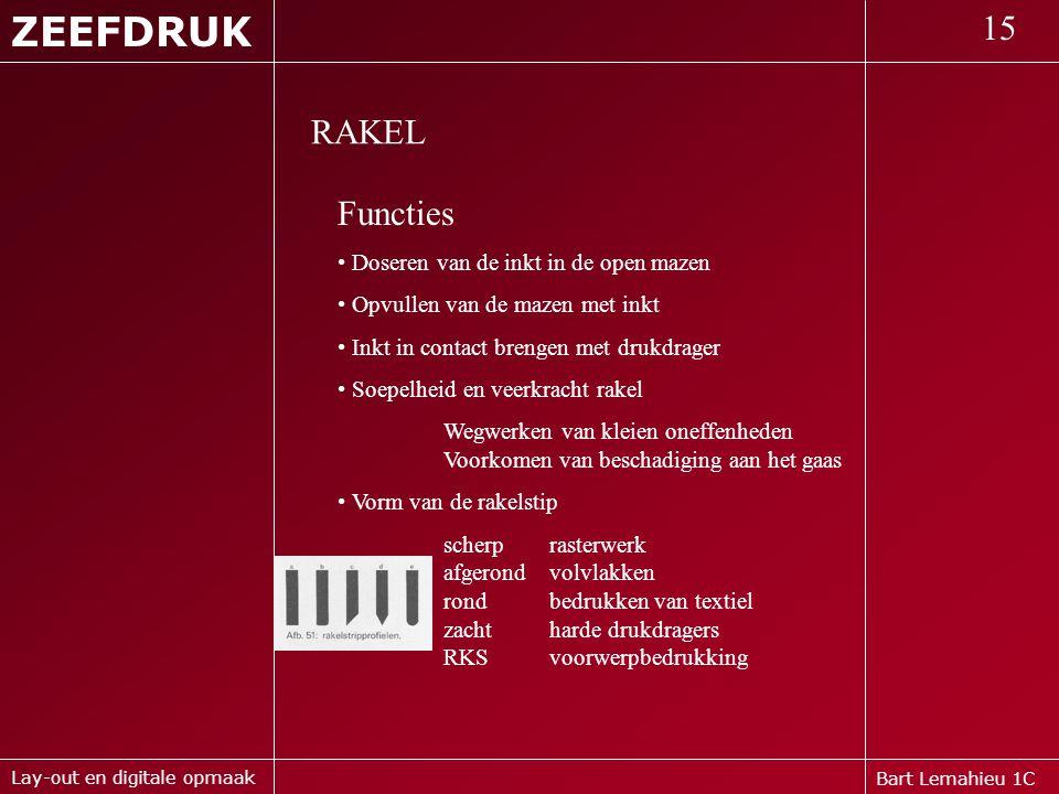 Bart Lemahieu 1C ZEEFDRUK 15 Lay-out en digitale opmaak RAKEL Functies • Doseren van de inkt in de open mazen • Opvullen van de mazen met inkt • Inkt