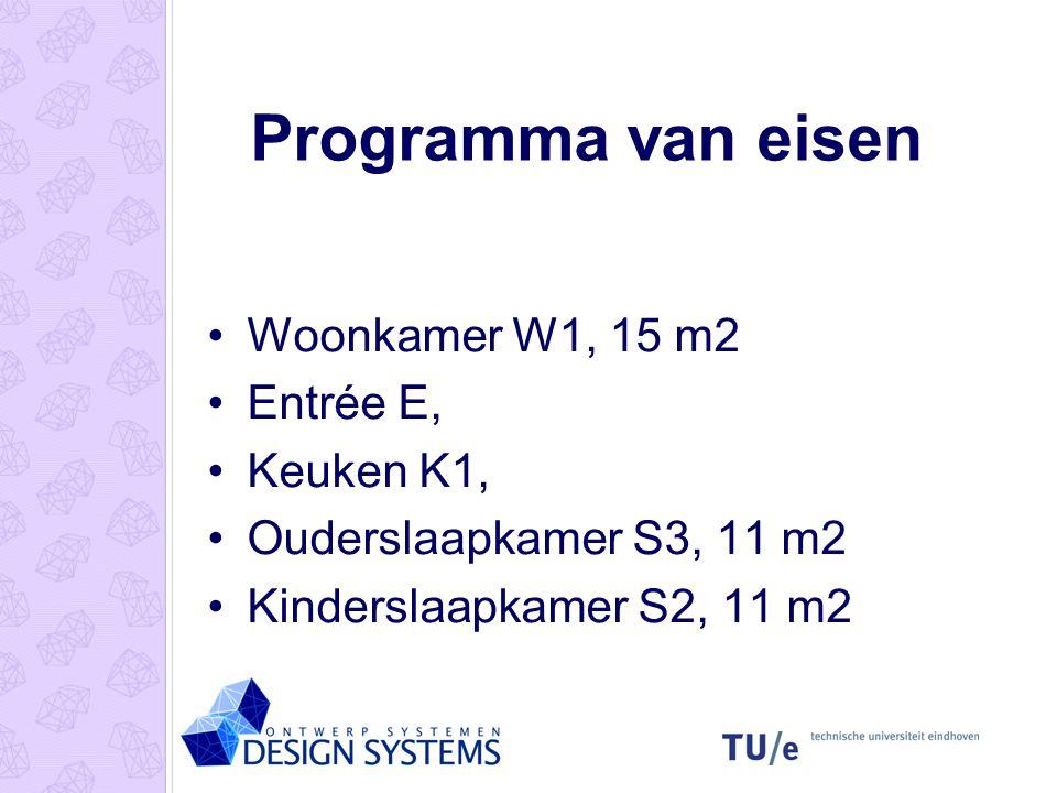 Programma van eisen •Woonkamer W1, 15 m2 •Entrée E, •Keuken K1, •Ouderslaapkamer S3, 11 m2 •Kinderslaapkamer S2, 11 m2