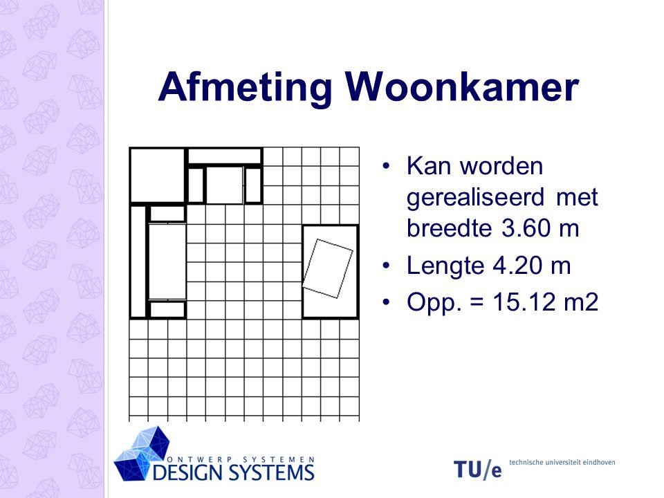 Afmeting Woonkamer •Kan worden gerealiseerd met breedte 3.60 m •Lengte 4.20 m •Opp. = 15.12 m2