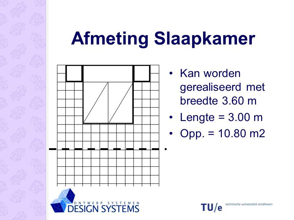 Afmeting Slaapkamer •Kan worden gerealiseerd met breedte 3.60 m •Lengte = 3.00 m •Opp. = 10.80 m2