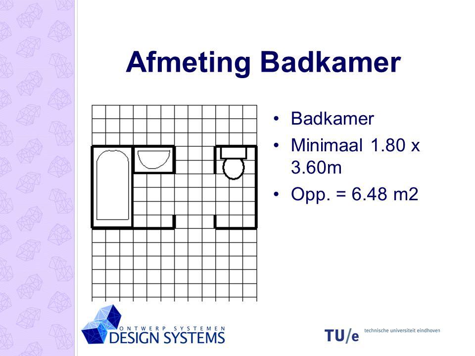 Afmeting Badkamer •Badkamer •Minimaal 1.80 x 3.60m •Opp. = 6.48 m2