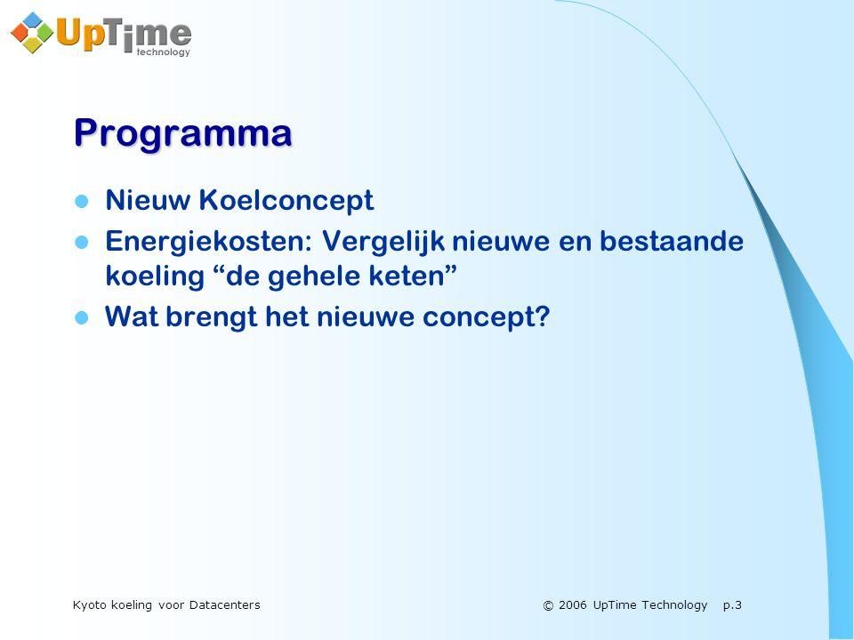 © 2006 UpTime Technology p.3Kyoto koeling voor Datacenters Programma  Nieuw Koelconcept  Energiekosten: Vergelijk nieuwe en bestaande koeling de gehele keten  Wat brengt het nieuwe concept?
