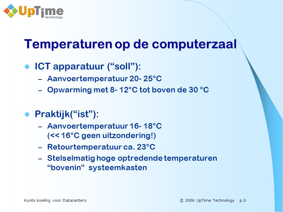 © 2006 UpTime Technology p.16Kyoto koeling voor Datacenters Kyoto Cooling Gepatenteerd door UpTime Technology The End or The Beginning