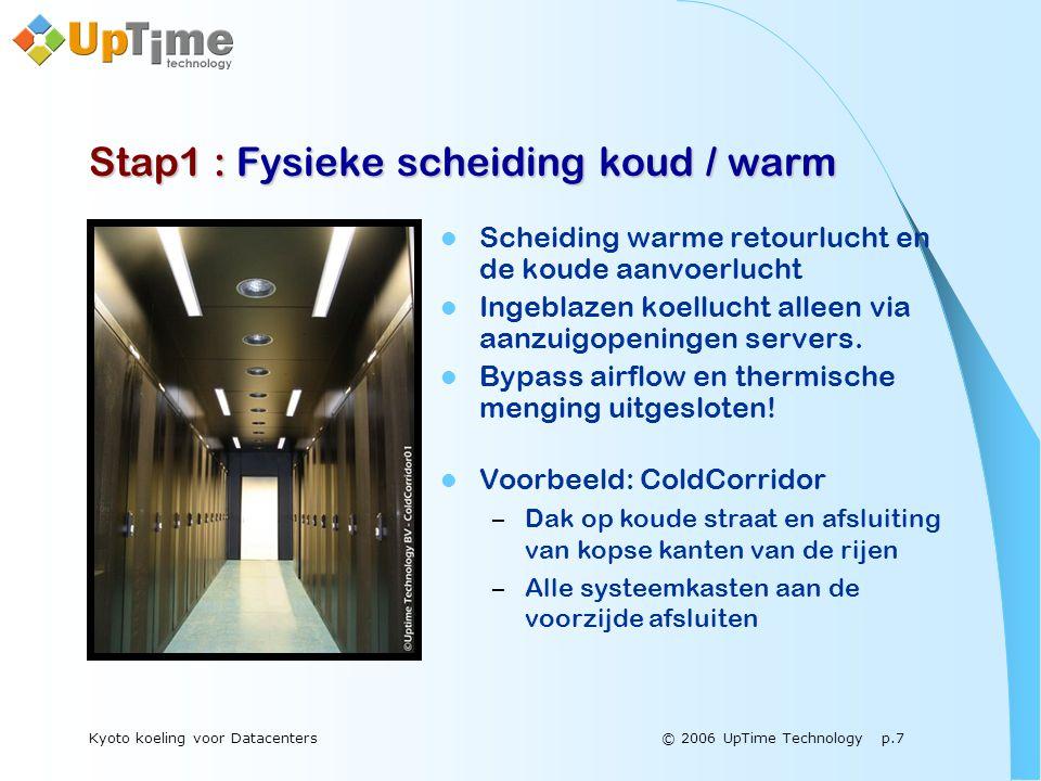© 2006 UpTime Technology p.7Kyoto koeling voor Datacenters Stap1 : Fysieke scheiding koud / warm  Scheiding warme retourlucht en de koude aanvoerlucht  Ingeblazen koellucht alleen via aanzuigopeningen servers.