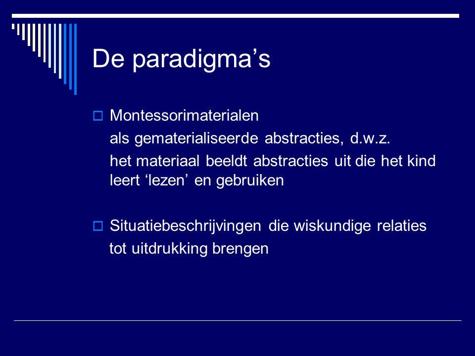 De paradigma's  Montessorimaterialen als gematerialiseerde abstracties, d.w.z. het materiaal beeldt abstracties uit die het kind leert 'lezen' en geb