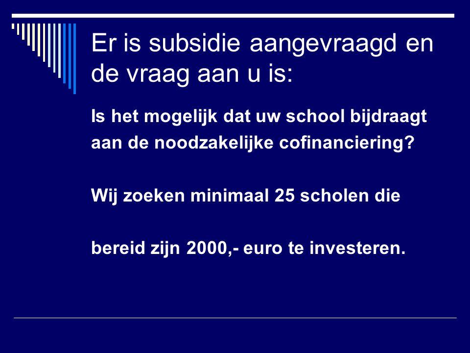 Er is subsidie aangevraagd en de vraag aan u is: Is het mogelijk dat uw school bijdraagt aan de noodzakelijke cofinanciering? Wij zoeken minimaal 25 s